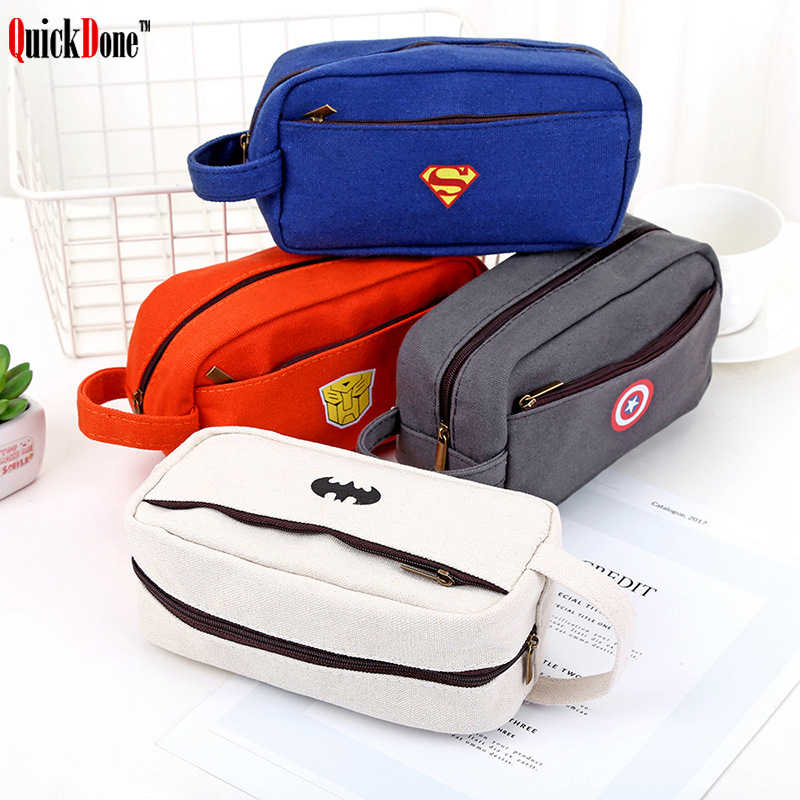 Super Hero Pencil Bag Case Storage Pen Stationery Box Double Zipper Design Multifunctional Canvas School Supplies NDK0094