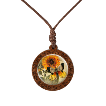 Sunflower Flower Butterfly Circle Glass Cabochon Wood Necklaces  Women's Necklaces