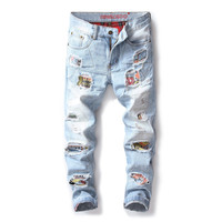 European American style Men's casual jeans Pants denim trousers jeans luxury Patches Patchwork Straight Slim blue jeans for men