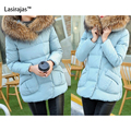 New Fashion Women's Coat Winter Keep Warm Cotton Solid Zipper Wide-waisted Long Sleeve Pocket Women Down Parkas with Fur Collar