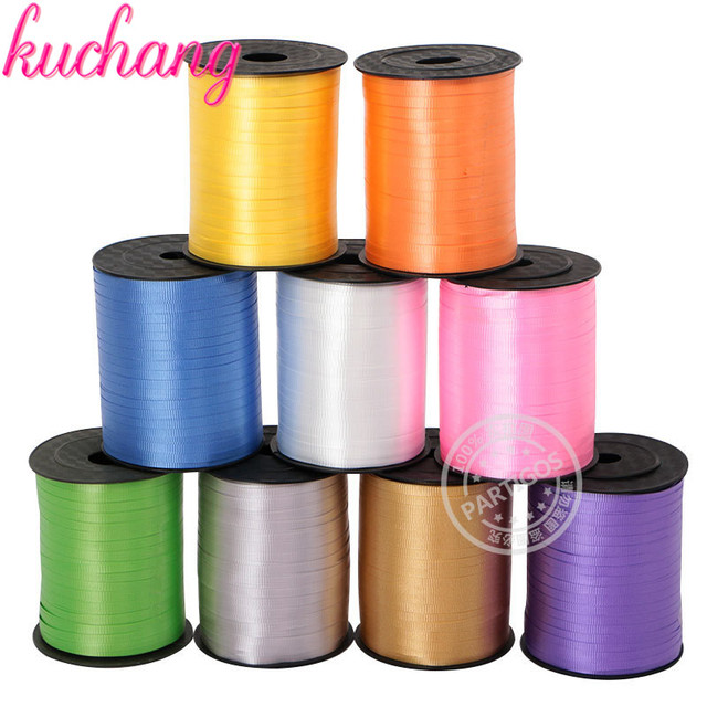 Roll Curling Balloon Ribbon 500yd Gold Silver White Pink Yellow Green Silk Chiffon Organza Ribbon