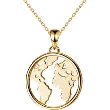 18k yellow Gold plated 17MM 100% real Sterling Silver 925 Fine Jewelry Map Circle Pendant Necklace GTLX1823