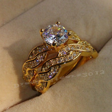 Size 5/6/7/8/9/10 Round  cut Luxury Jewelry Trendy 18kt yellow gold filled AAA Cubic Zirconia Wedding Ring set gift choucong