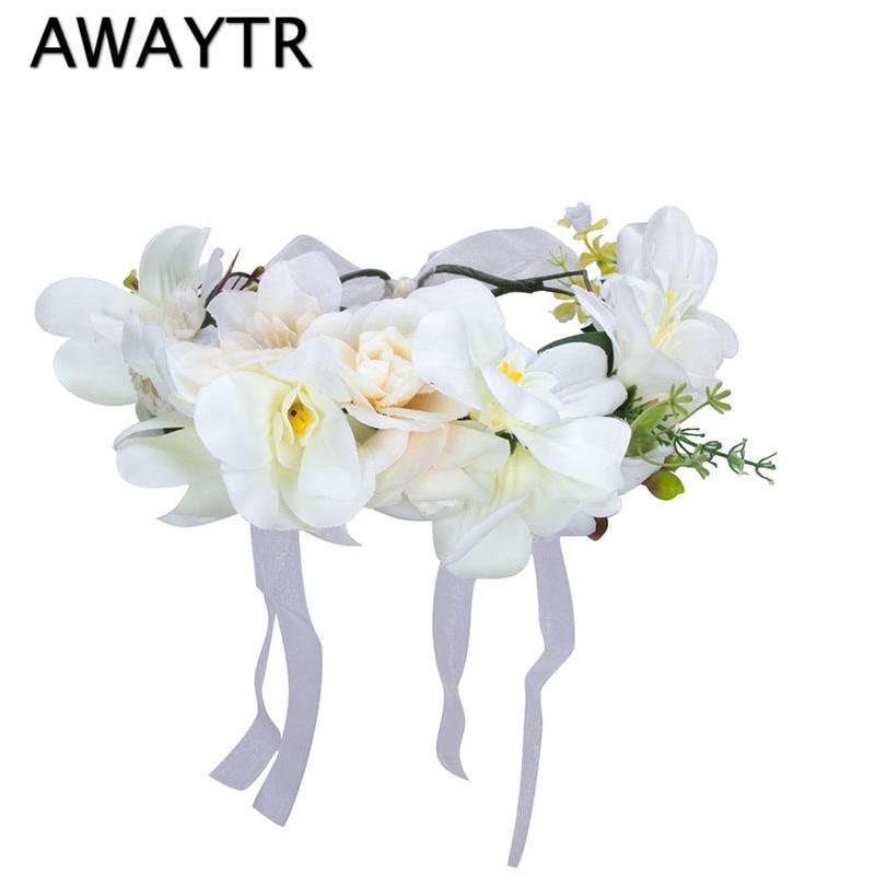 Handmade Orchid Flower Crown Garland for Wedding Travel Holiday Girls Flower Wreath Headpiece Decorations coroa de flores gothic flower crown garland for women