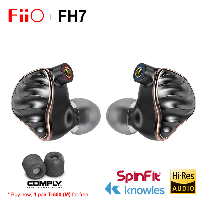FIIO FH7 New Flagship 5 Hybrid Driver (4 Knowles BA + 13.6mm Dynamic) HIFI AUDIO In-ear earphone IEM with MMCX Detachable Cable