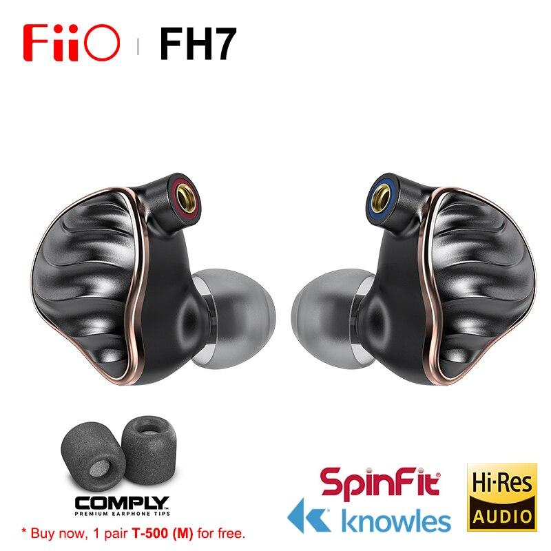 Nuevo controlador híbrido FIIO FH7 5 nuevo buque insignia (4 conocimiento BA + 13,6mm dinámico) de AUDIO de alta fidelidad en la oreja los auriculares IEM con MMCX Cable desmontable