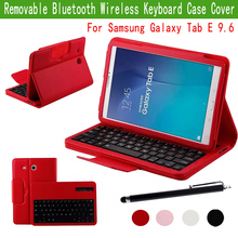 """ABS Removable Wi-fi Bluetooth Keyboard Case for Samsung Galaxy Tab E 9.6"""" Pill T560 T561 W/ Protecting PU Leather-based Cowl"""