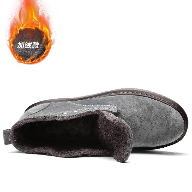 grey Cuir No Chaussures Top High Véritable 2018 Fur Hiver Automne Khaki Hommes Coton Matin Moto Chaud Cheville black Black En Bottes Fur With Fur qaSY1xS
