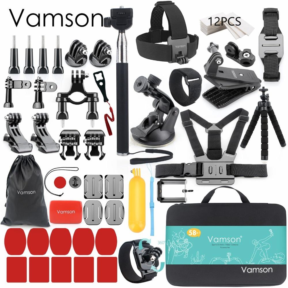 Vamson per Gopro Accessori set per go pro hero 7 6 5 4 kit di montaggio per SJCAM per SJ4000/per xiaomi per yi 4 k per eken h9 VS84