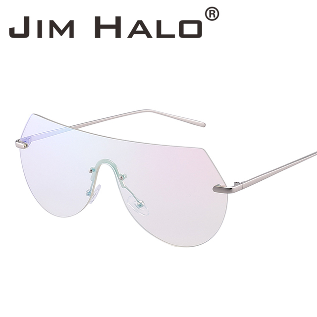 05d7bc5b1b Jim Halo 10pcs Lot Wholesale Rimless One Piece Flat Top Integrated Mirror  Clear Lens Oversize