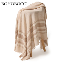 BOHOBOCO 2018 fashion square warps inner mongolia women cashmere scarf luxury brand ladies pashmina shawl 145cm*145cm