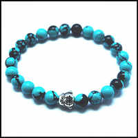 2015 new colors blue turquoisee stone beads women's bracelet  two buddha wholesale  jewelry bracelet 8mm size free shipping