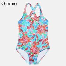 Charmo Girls One-Piece Swimsuits Flower Print Swimwear Kids Adjustable Strapped Bikini Cute Beach Wear Light Color