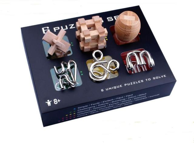 6 in 1 Set Gift Box Wooden Metall Brain Teaser Puzzle Game Entanglement Wire Puzzles Toy for Adults Kids