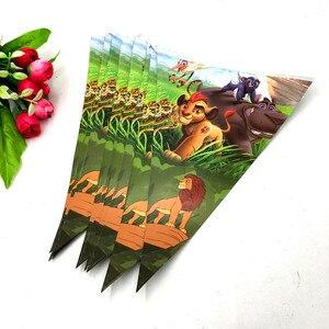 Image 1 - 10 Uds. Bandera de la fiesta de la guardia del león suministros para fiestas de cumpleaños de la fiesta del Rey León decoración del Partido de la guardia del Rey León