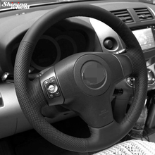 цена на Black Leather Hand-stitched Car Steering Wheel Cover for Toyota Yaris Vios RAV4 2006-2009