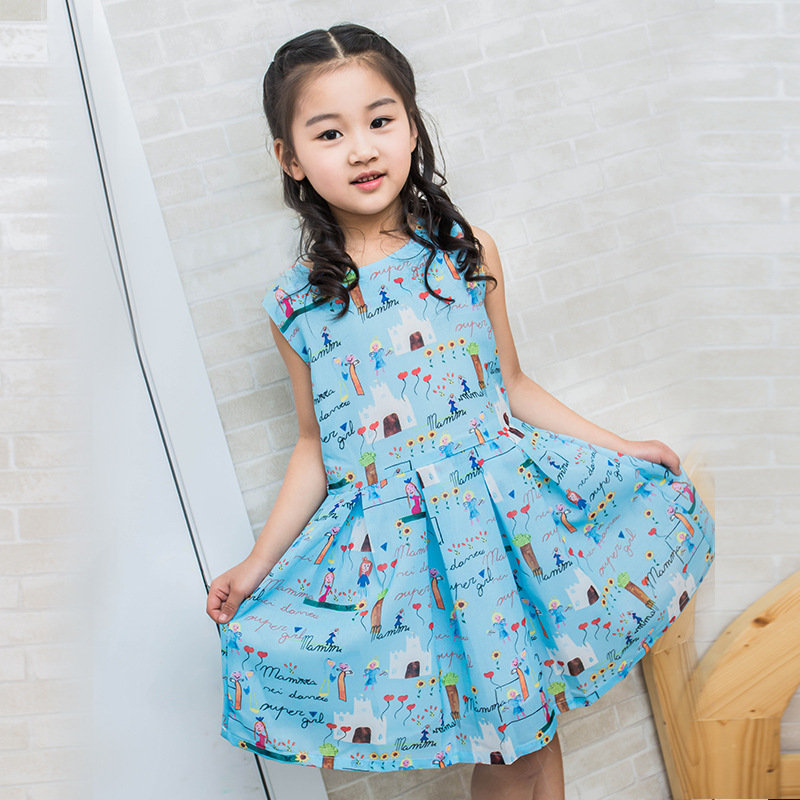 Summer Children's Garment New Pattern Girl Sleeveless Vest Children Cartoon Korean Love Blue Dress Kids Clothing