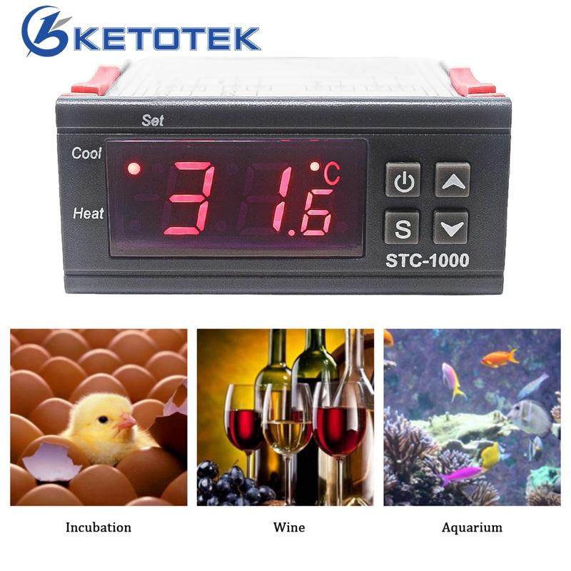 STC-1000 Thermostat pour Incubateur Numérique Régulateur de Température Contrôleur Deux Relais Sortie avec 1 m Capteur 110 ~ 220VAC 12 v 24V10A