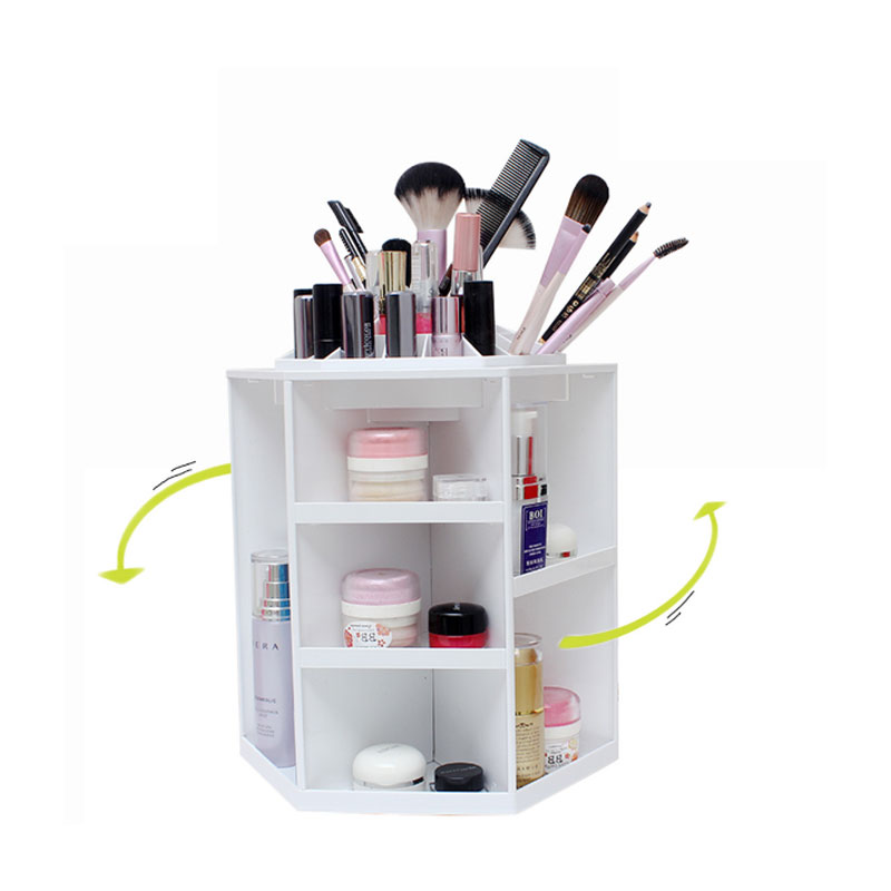 360-degree Rotating Makeup Organizer Box Brush Holder Jewelry Organize Case Makeup Cosmetic Storage Box for Lipsticks Toner