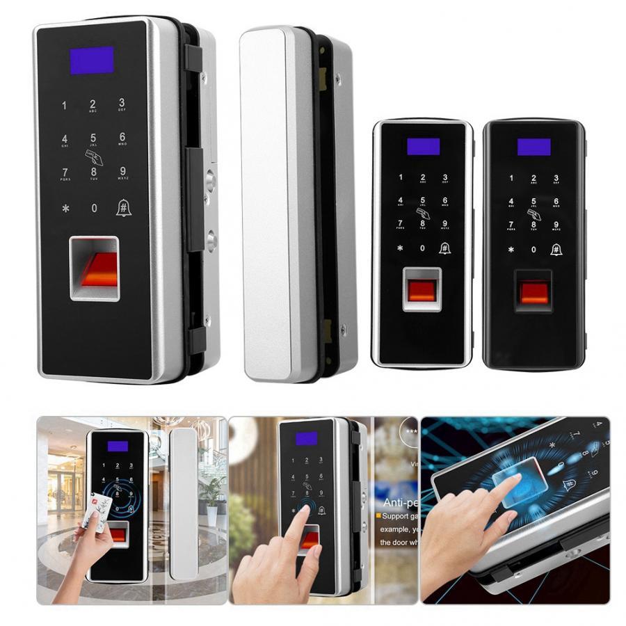 Double Glass Door Lock Touch Card Keypad Smart Fingerprint Password Card Lock No Punching