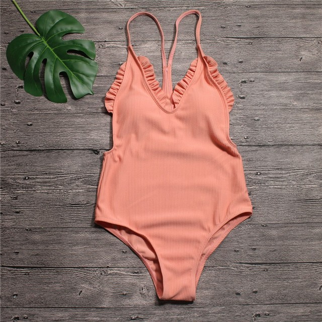 936c78e2c9 Deep V High Cut Swimwear Women One Piece Swimsuit Female Ruffle Bathing Suit  Push Up One