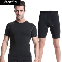 AtejiFey 2018 Workout Tights Sportswear Fitness Running Clothes Jogging Men Compression Quick Dry Sports Tracksuit Gym yoga sets quick dry men s running sets 2 pieces sets compression sports suits men basketball tights clothes gym fitness jogging sportswear