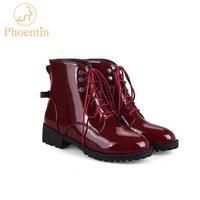 Phoentin Lace Up Ankle Boots For Women Winter Rivet Butterfly Knot Blue Black Green Short Boots