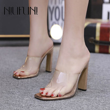 Casual Square Head Transparent Womens Slippers 2019 Ladies Shoes Sexy High Heels Roman Fashion Thick Heel Sandals Female