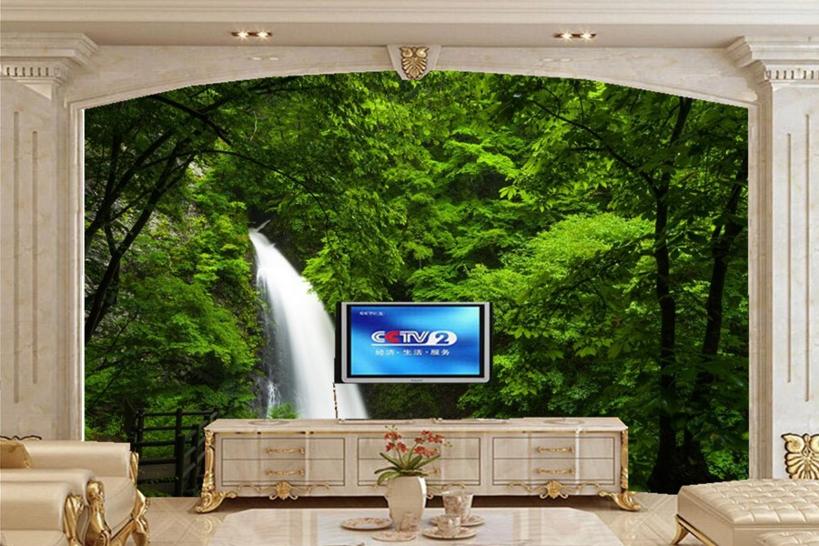 3D wallpaper papel de parede ,majestic waterfalls in the Forest nature wallpapers,living room tv sofa wall bedroom large murals custom 3d mountains sunrises and sunsets forest trees rays of light nature papel de parede living room tv wall bedroom wallpaper