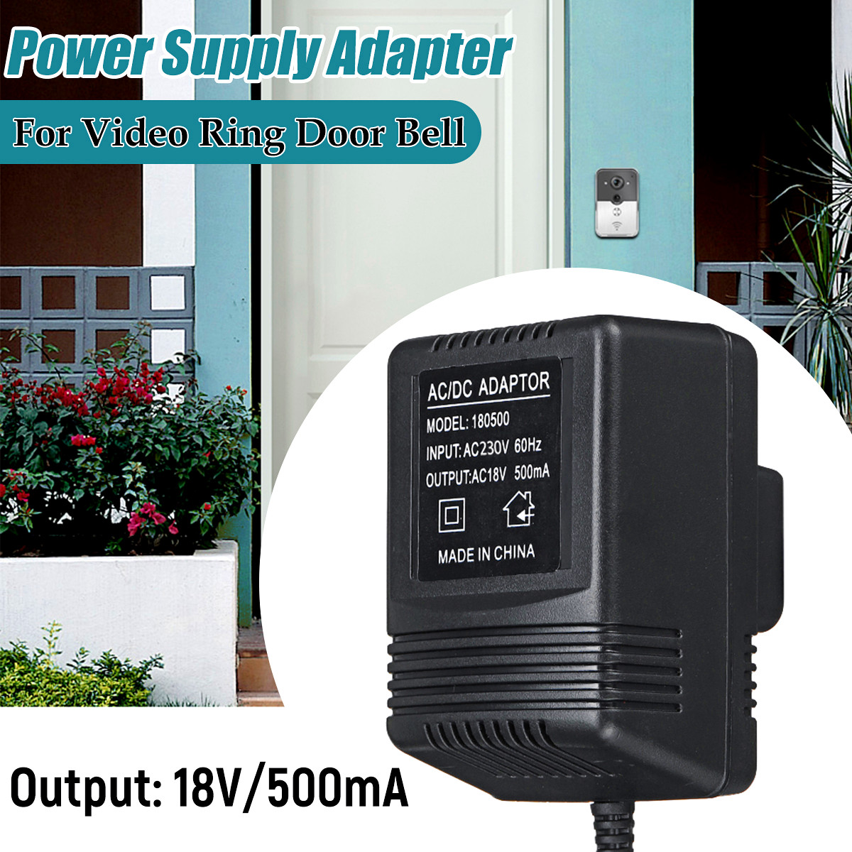 AC 18V 500mA 9W Output Power Supply Adapter Transformer Easy Installation UK for Video Ring Doorbell ac 18v 500ma 9w output uk power supply adapter transformer easy installation for video ring doorbell