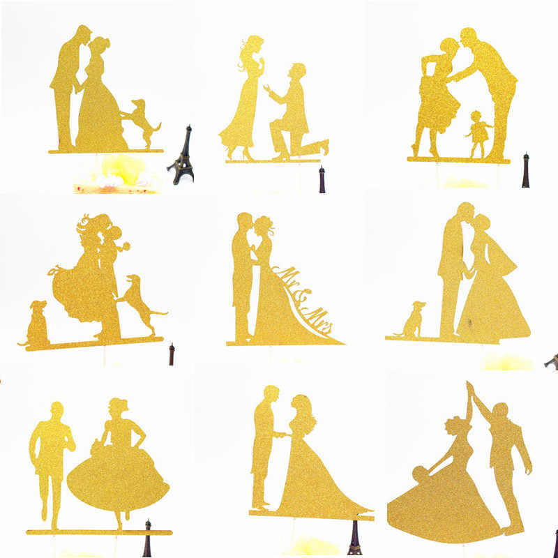 Wedding Cake Topper MR MRS Bride Groom Cake Cupcake Toppers Flags Lovely Wedding Cake Stand Decoration Mariage Party Supplies