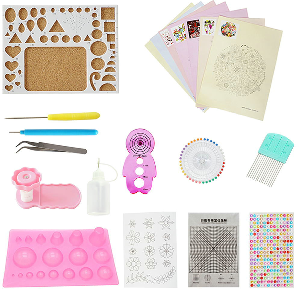 Quilling Paper Kits With Tools 1940 Strips Board Mould Crimper Coach Comb DIY Set With 16 Different Patterns Making Drawings