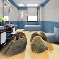 Free Shipping custom Floating sea stone flooring wallpaper 3D living room bathroom corridor floor Self adhesive mural