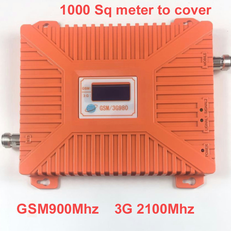 2016 New 900mhz+2100mhz 22 Dbm Gain 65dbi LCD Display Dual Bands GSM+3G Booster Repeater Dual Bands Booster WCDMA Repeater