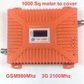 2016 nueva 900 mhz + 2100 mhz 22 dbm ganancia 65dbi pantalla LCD bandas duales GSM + 3G de refuerzo WCDMA repetidor de refuerzo repetidor dual bandas