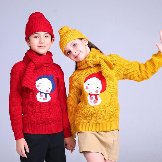 Bebé suéter suéter ropa de año nuevo regalo de navidad para las muchachas del muchacho de invierno patrón de muñeco de nieve niños de algodón de la rebeca de la capa del bebé