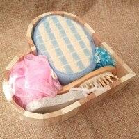 Yumuşak Peeling Spa Scrubber Geri Masaj Tarak Sünger Banyo Ovmak, Ayak Taş, masaj Ahşap Tarak, Banyo Çiçek, duş Kap