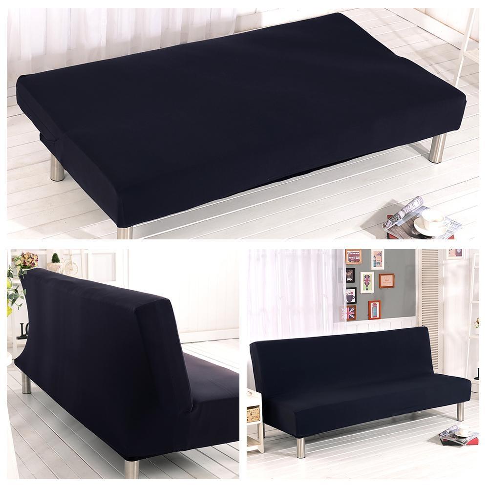 hussen fur sofa blau, einfarbig elastische sofa abdeckung keine armlehne abnehmbare, Design ideen