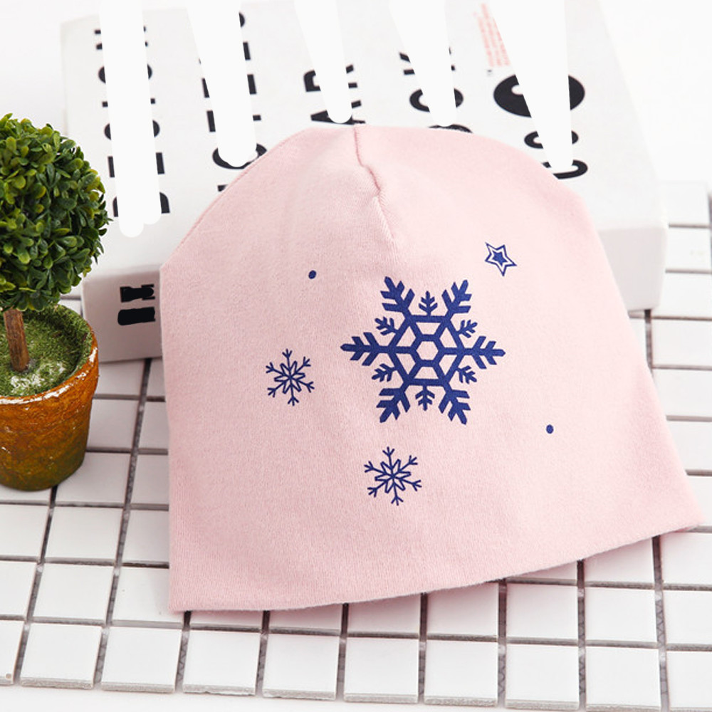 0-6Yrs Baby Hats Cotton Snowflake Printing Infant Hat Toddler Autumn Winter Childrens Hat For Boy Girl Beanie Caps Newborn BTTF