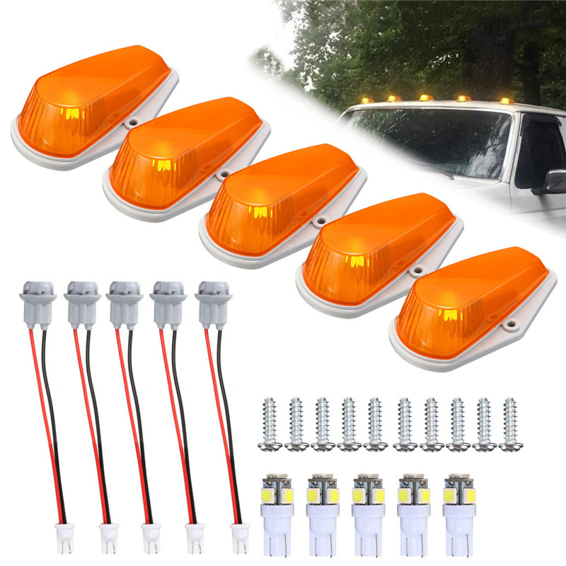 5Pcs Car Lights Amber Cab Roof Marker Clearance Lamp T10 5050 SMD Roof Running Light LED Light Bulbs For Ford DC12V 4pcs car w5w t10 led light 48 3014 smd side marker lamps warm white clearance lights bulb dc 12v
