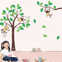 ZY1206Deep Forest Monkeys Vinyl Wall Stickers For Kids Rooms Children Home Decor Sofa Living Wall Decals