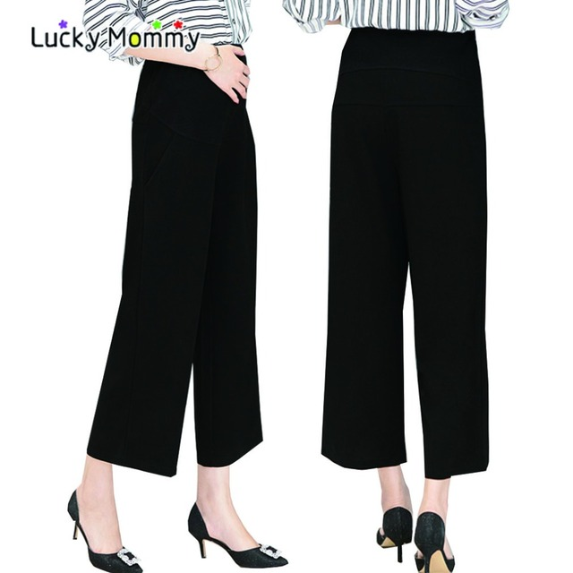 Summer Black Wide Leg Maternity Pants Career Work Pants for Pregnant Women Pregnancy Clothes Ropa Premama Maternity Trousers