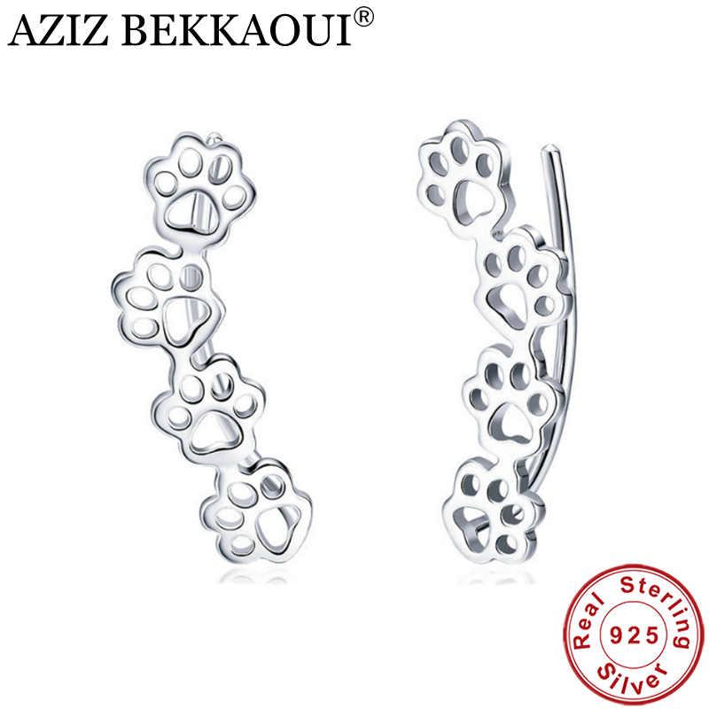 Серьги-гвоздики AZIZ BEKKAOUI, настоящее 925 пробы, серебряные, с милой лапой кошки и собаки, с отпечатками ног, для женщин, высокое качество, серебряные ювелирные изделия