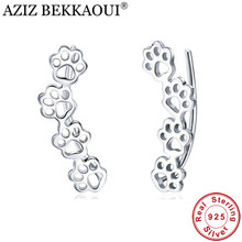 AZIZ BEKKAOUI Real 925 Sterling Silver Cute Paw Cat And Dog Footprints Stud Earrings for Women Top Quality Silver Jewelry(China)