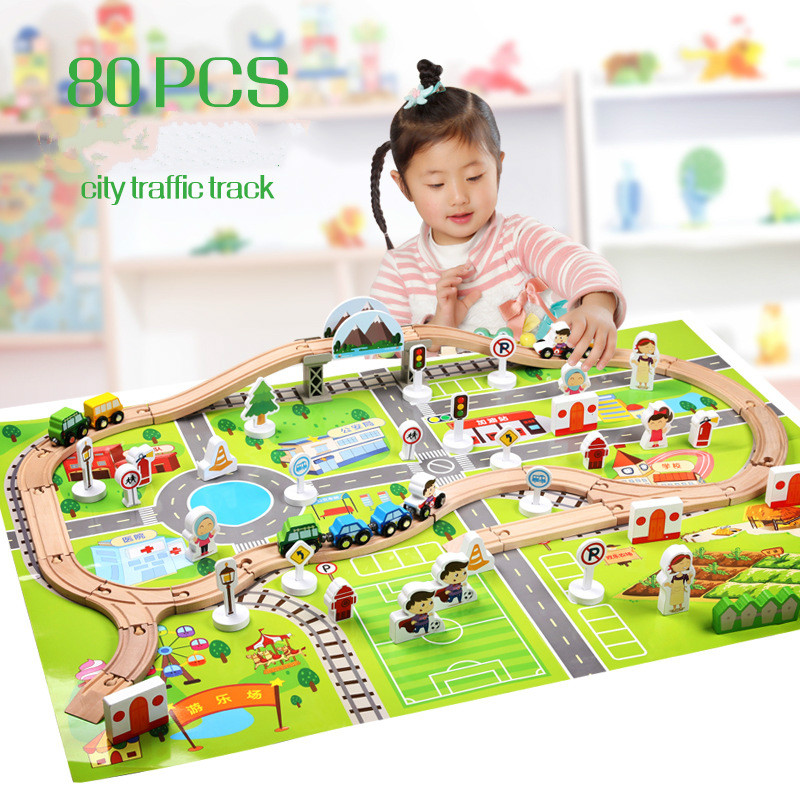 Children's Intelligence Railway Track Assembled Toys Urban Traffic Scene 80Pcs Wooden Toy Building Blocks Birthday Gift For kid 50pcs hot sale wooden intelligence stick education wooden toys building blocks montessori mathematical gift baby toys