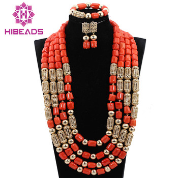 Exclusive Long Coral Bridal Necklace Set 29inches Wedding African Coral Beads Jewelry Set New Free Shipping CNR770