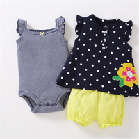 2018 Spring Summer Baby Girl Clothes Set Kids Bebes Clothing Summer Set Flower Stripe Cartoon Baby