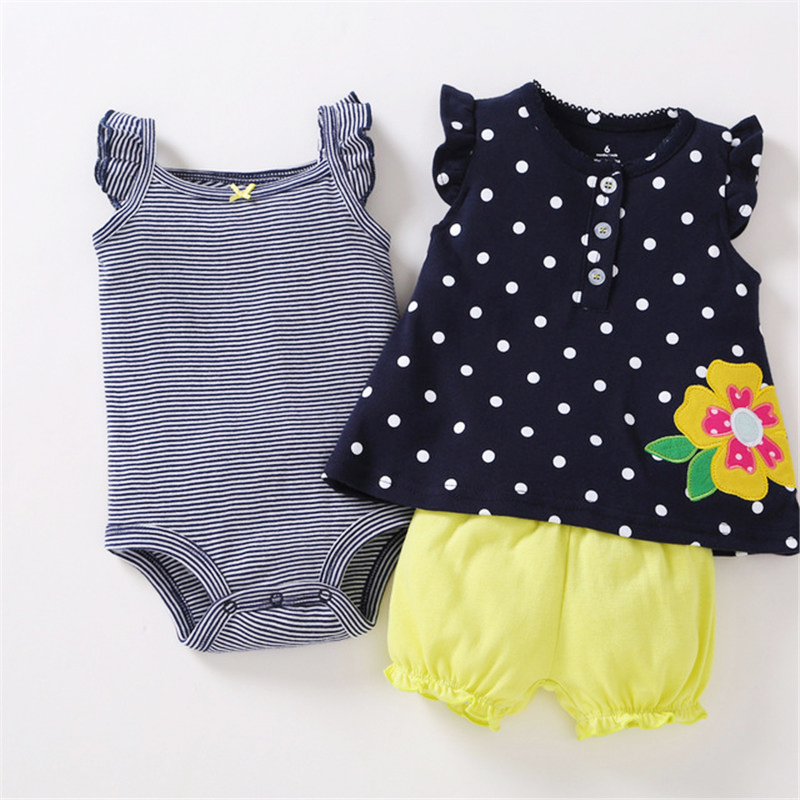 2018 Spring Summer Baby girl clothes set kids bebes clothing summer set Flower Stripe Cartoon baby romper style Sets bodysuit
