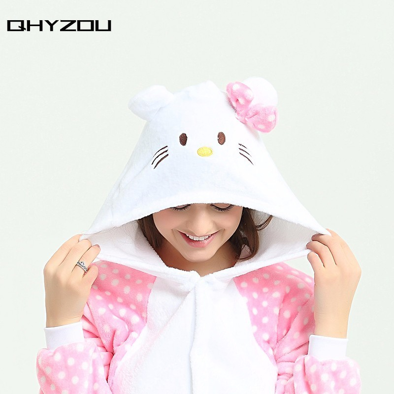 Zip Back Cat Plush Kigurumi Unicorn Onesies For Adults Women Onsie Pijamas Animal ...