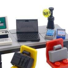 Akcesoria miejskie klocki Laptop biuro dom komputer walizka kompatybilny przyjaciele MOC cegła dzieci zabawki prezentowe dla dzieci